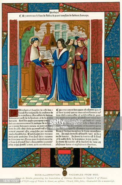 medieval illumination charles v of france - manuscript stock illustrations