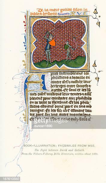 medieval illumination david and goliath - manuscript stock illustrations