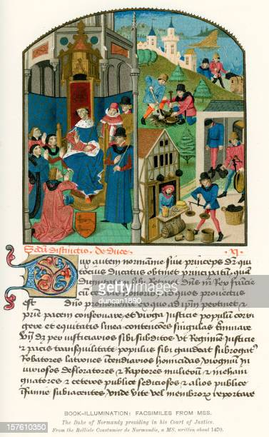 medieval illumination justice in the middle ages - normandy stock illustrations, clip art, cartoons, & icons