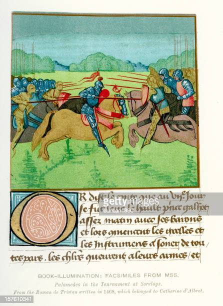 Medieval Illumination Palamedes in the Tournament