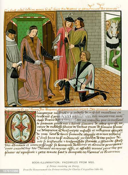 medieval illumination prince receiving an envoy - manuscript stock illustrations