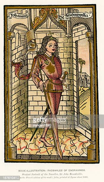 ilustraciones, imágenes clip art, dibujos animados e iconos de stock de medieval sir john mandeville iluminación - san juan bautista