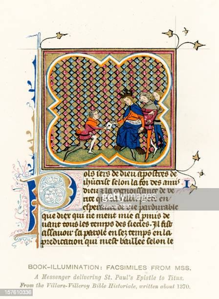 medieval illumination st paul's epistle - manuscript stock illustrations