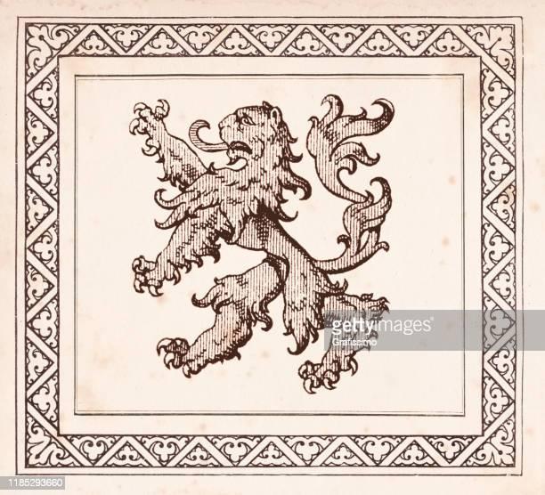 medieval illustration of fighting lion 1896 - insignia stock illustrations
