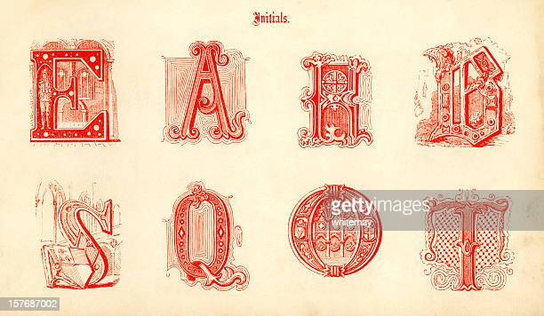 medieval initials - letter b stock illustrations