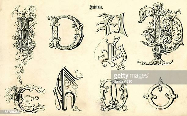 ilustraciones, imágenes clip art, dibujos animados e iconos de stock de medieval iniciales - letrae