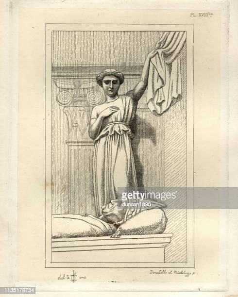 ilustrações, clipart, desenhos animados e ícones de escultura italiana medieval, túmulo de um bispo - bishop clergy
