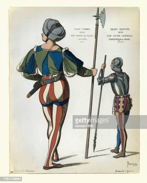 medieval italian soldiers of lombardy and venice, 16th century - halberd stock illustrations