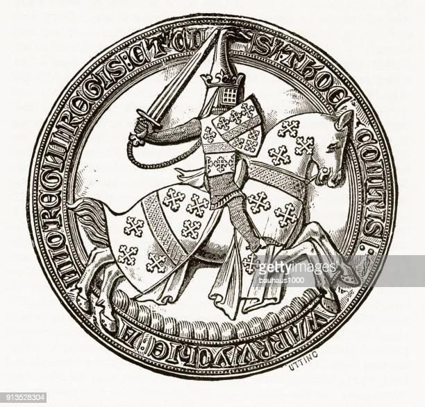Middeleeuwse ridder op paard met christelijke symboliek gravure
