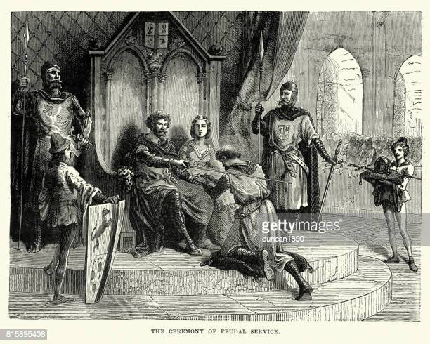 medieval knight swearing service to his feudal lord - peerage title stock illustrations