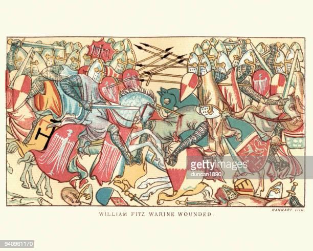 bildbanksillustrationer, clip art samt tecknat material och ikoner med medeltida riddare william fitzwarin sårade i strid - litografi