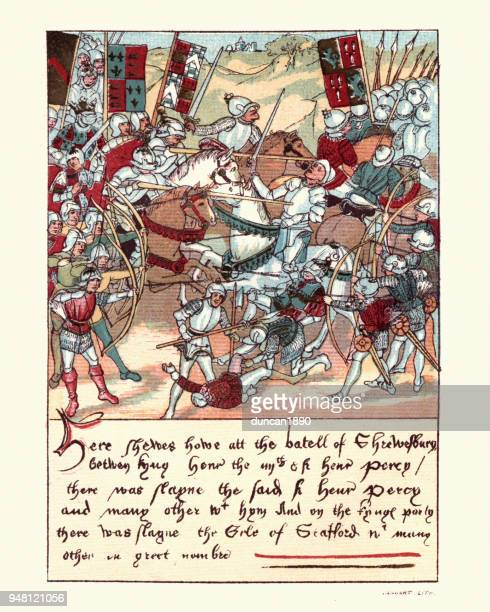 medieval knights and soldiers at battle of shrewsbury, 15th century - circa 15th century stock illustrations, clip art, cartoons, & icons