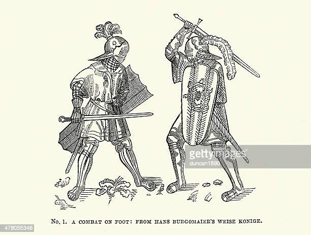 ilustrações de stock, clip art, desenhos animados e ícones de medieval cavaleiros preso em uma luta contra a pé - luta de espadas