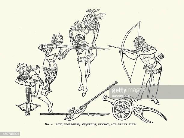 Medieval Arco de arqueiro, Crossbow, Arquebus, o canhão de combate a incêndios e grega