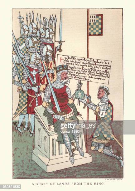 medieval lord reciving a grant of land from the king - peerage title stock illustrations