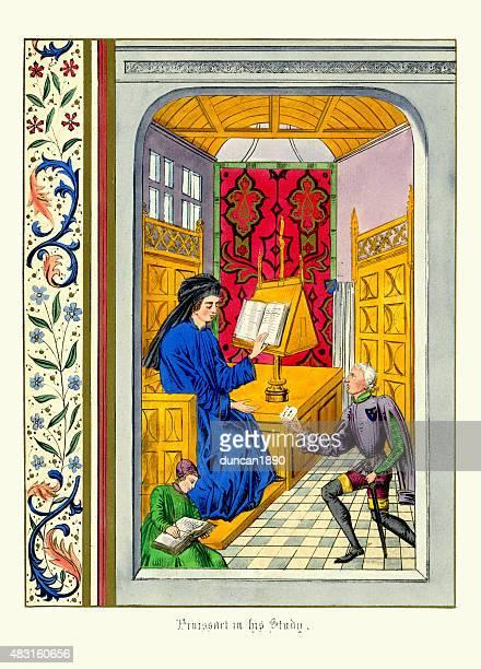 medieval manuscript - jean froissart in his study - manuscript stock illustrations