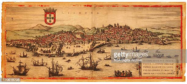 medieval maps and illustrations i view of lisbon 1575 - iberian peninsula stock illustrations, clip art, cartoons, & icons