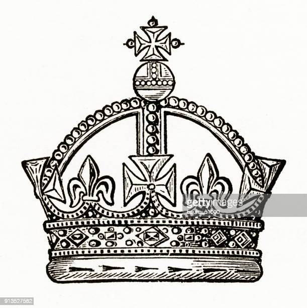 medieval monarch crown with christian symbolism engraving - medieval queen crown stock illustrations