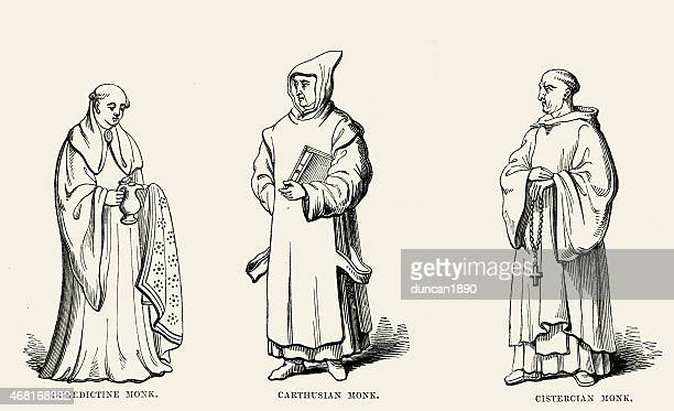 ilustrações, clipart, desenhos animados e ícones de medieval budistas-benedictine dos cartuxos e cisterciense - cisterciense