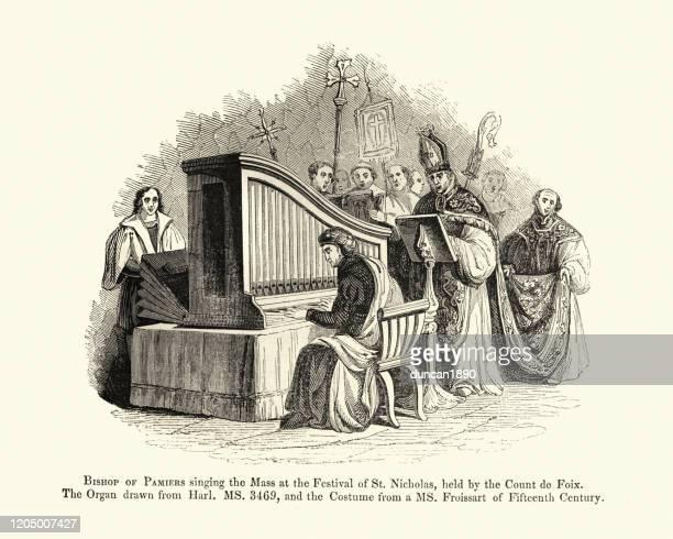 ilustrações, clipart, desenhos animados e ícones de música medieval, bishop cantando massa acompanhado de órgão de cachimbo - bishop clergy
