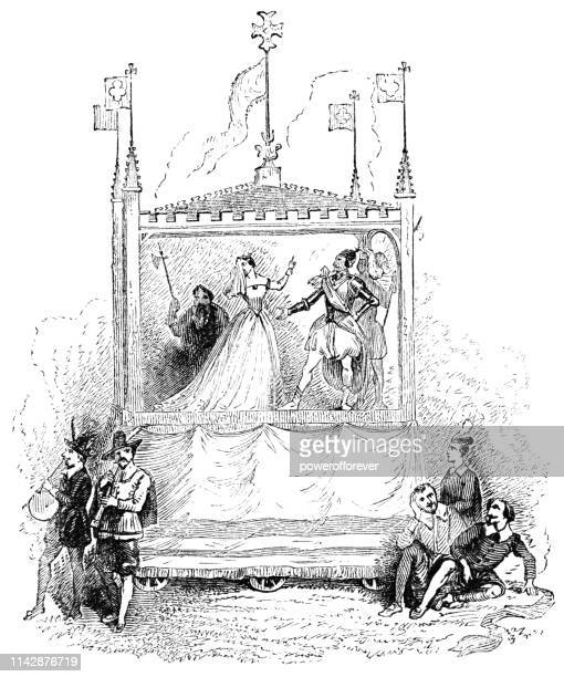 medieval pageant on a mobile stage in rural england - 15th century - theater industry stock illustrations, clip art, cartoons, & icons