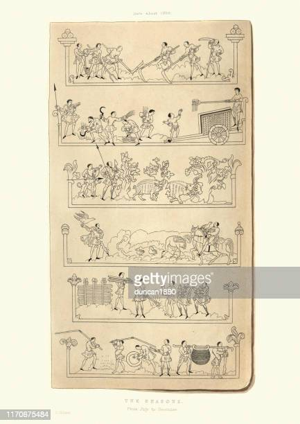 medieval people working through the seasons, 11th century - falconry stock illustrations