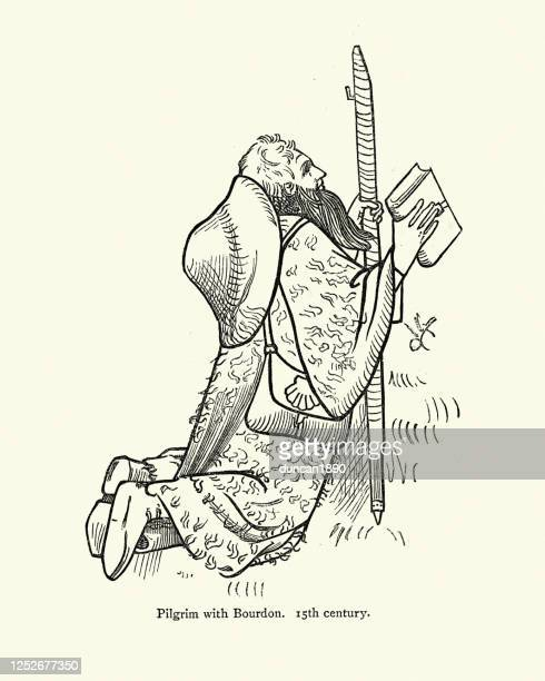 ilustraciones, imágenes clip art, dibujos animados e iconos de stock de peregrino medieval con bourdon (personal del peregrino) y biblia, siglo xv - peregrino