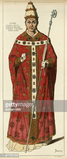 medieval pope wearing robes, papal tiara, holding crosier, 14th century - pope stock illustrations
