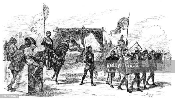 medieval : royal cortege - parade stock illustrations, clip art, cartoons, & icons
