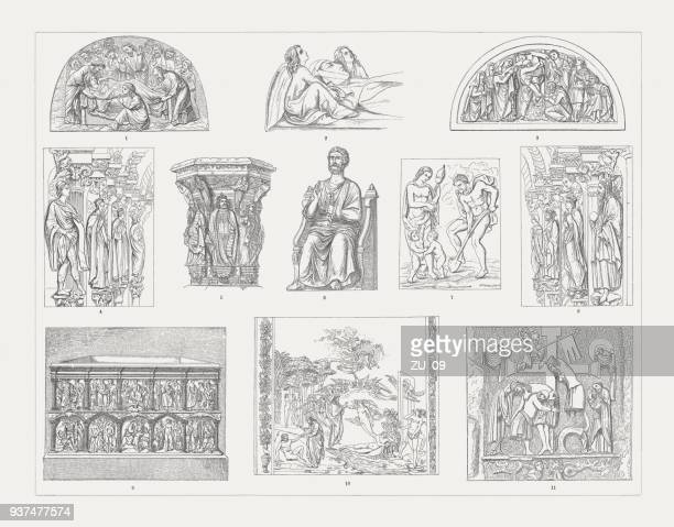 medieval sculpture art, wood engravings, published in 1897 - circa 14th century stock illustrations, clip art, cartoons, & icons