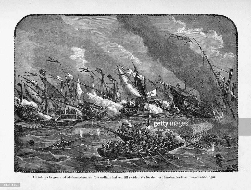 Medievale mare lotta contro i musulmani in rilievo, di Circa 1400 : Illustrazione stock