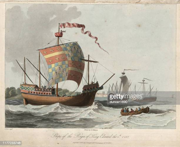 medieval ships from reign of king edward iv 15th century - warship stock illustrations