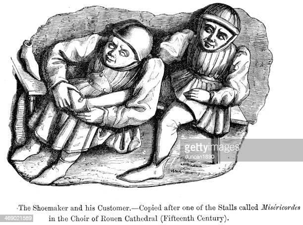 medieval shoemaker - medieval shoes stock illustrations