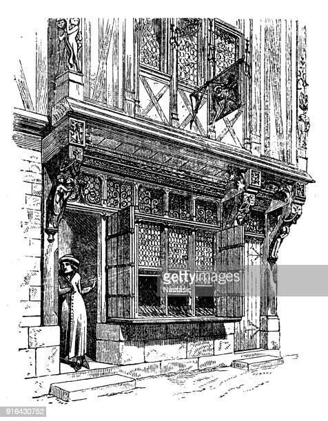 medieval shop facade - northeastern england stock illustrations, clip art, cartoons, & icons