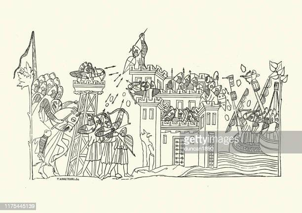 medieval siege warfare, attacking castle from land and sea - siege stock illustrations