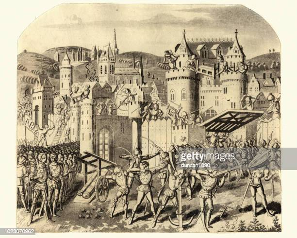 Medieval siege warfare, Count of Hainaut attacking, Aubenton,