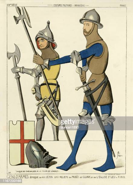 medieval soldiers, men-at-arms in armour carrying halberds, 14th century - halberd stock illustrations