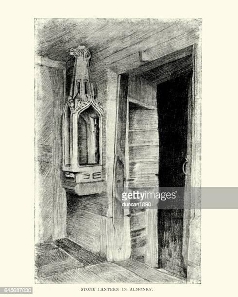 medieval stone lantern in evesham almonry - falconry stock illustrations