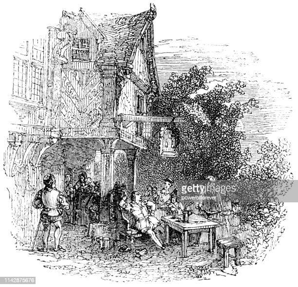 medieval tavern in rural england - 16th century - inn stock illustrations