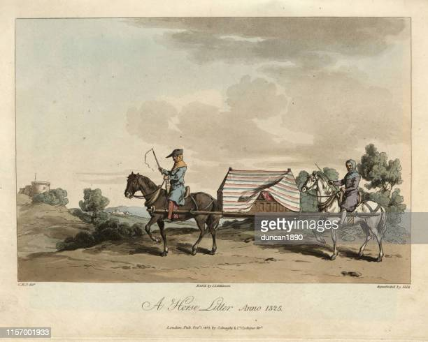 medieval travel, a horse litter, 14th century - circa 14th century stock illustrations