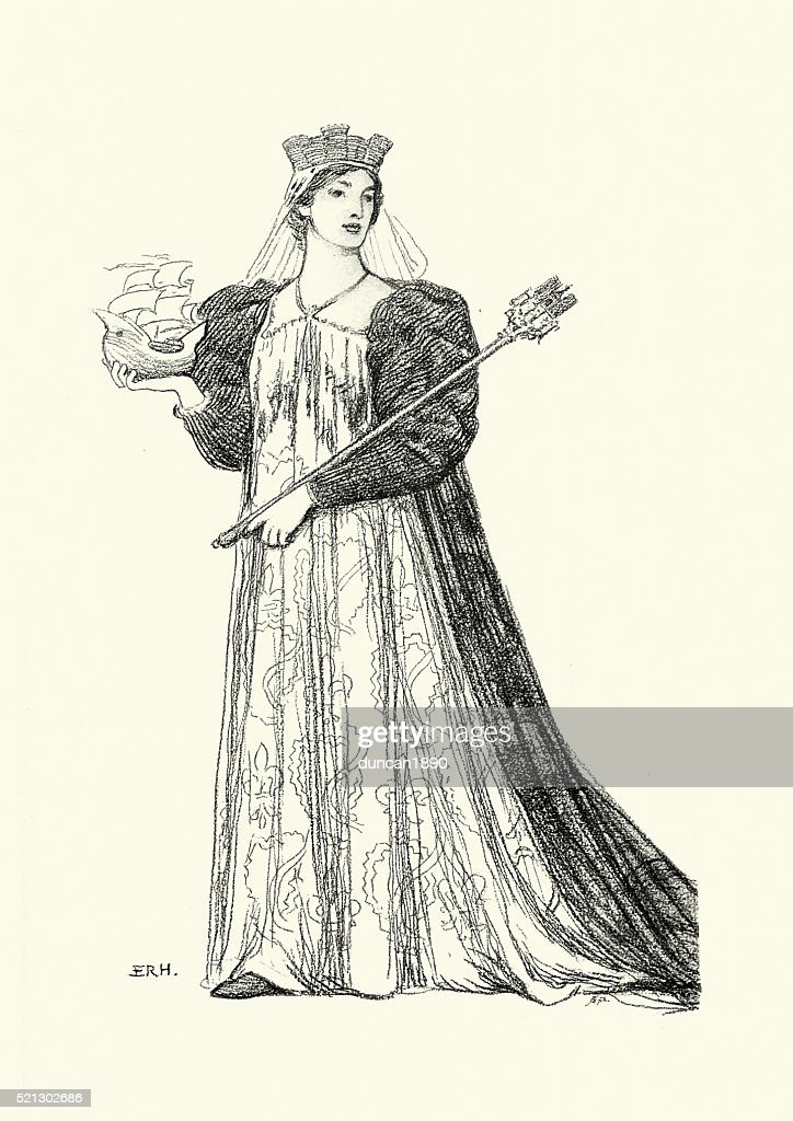 Medieval Woman of Paris : stock illustration