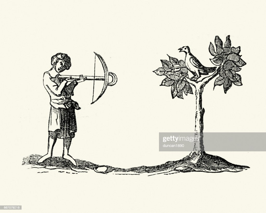 Medieval Woodcut Of A Man Hunting With A Crossbow stock