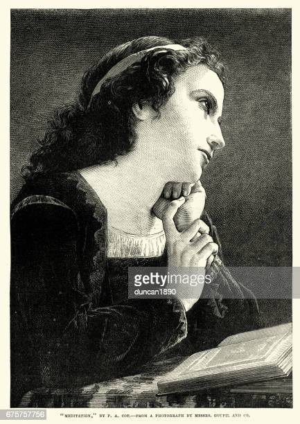 Meditation, Victorian woman lost in thought, 1870
