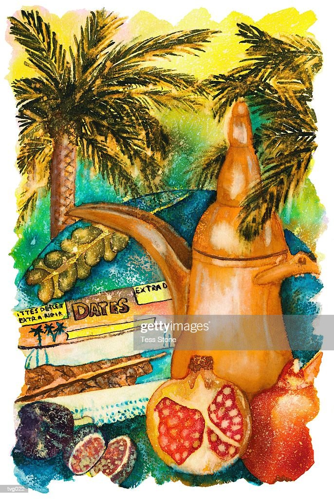 Mediterranean Coffee & Fruits : Stockillustraties