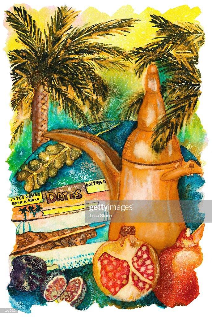 Mediterranean Coffee & Fruits : Ilustración de stock