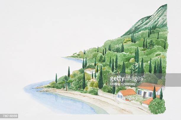 Mediterranean landscape showing house on beach at bottom of wooded hillside.