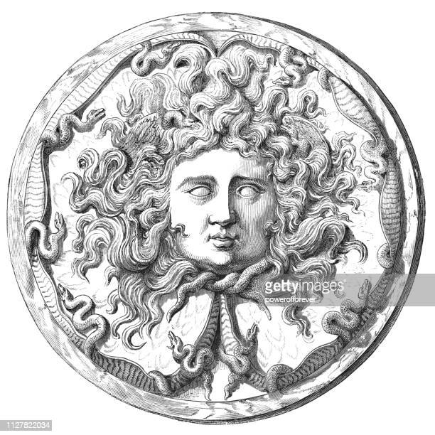 medusa on the farnese cup - 2nd century bc - relief carving stock illustrations