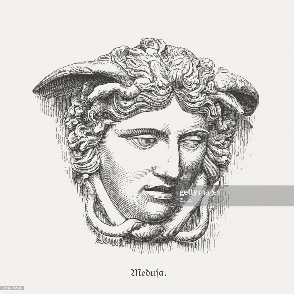 Medusa Rondanini, ancient sculpture, Glyptothek in Munich, Germany, published 1879 : stock illustration