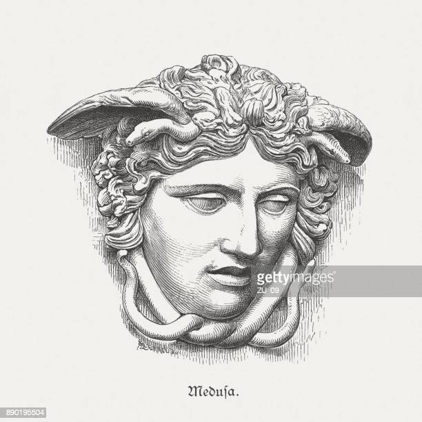 medusa rondanini, ancient sculpture, glyptothek in munich, germany, published 1879 - greek mythology stock illustrations