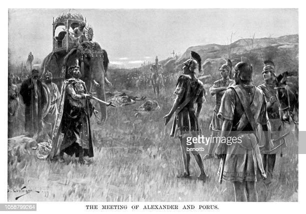 meeting of alexander the great and king porus - alexander the great stock illustrations